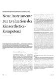 Neue Instrumente zur Evaluation der Kinaesthetics-Kompetenz