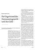 Der Gegenstand der Humanontogenetik und ihre Ziele